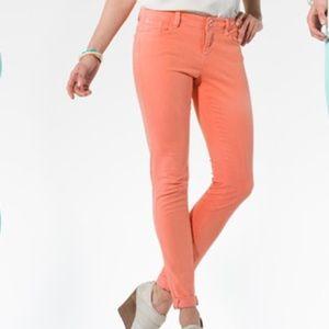 Kensie Jeans skinny pants orange pink coral